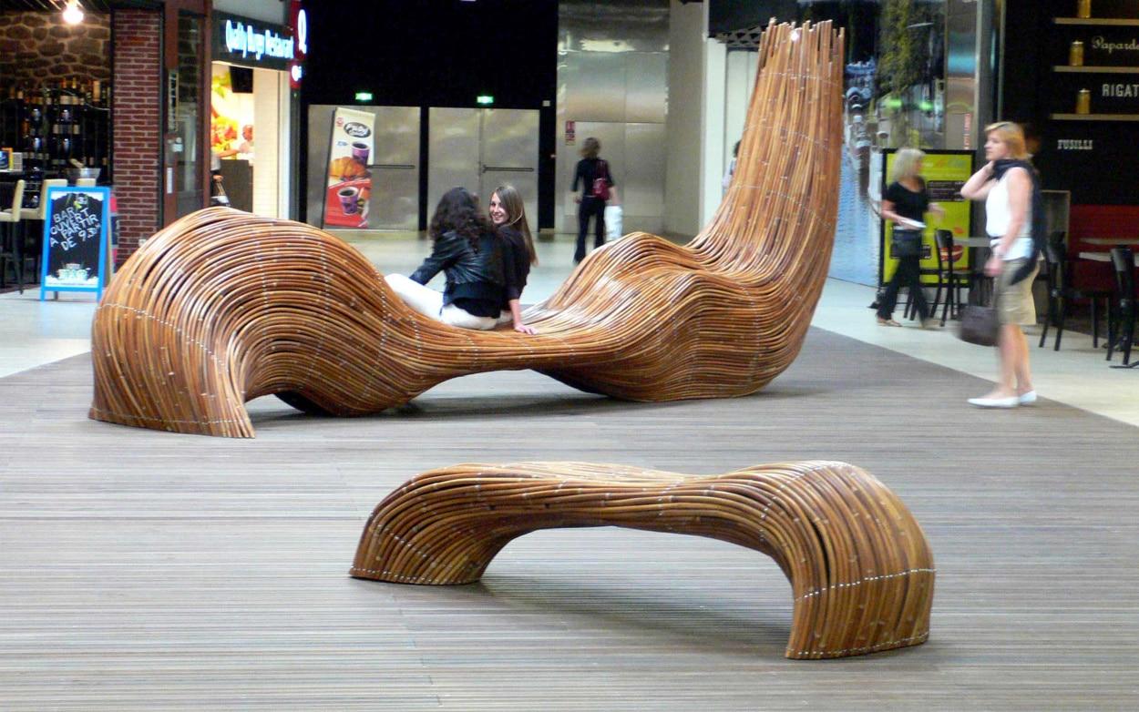 bancs publics fibrilles design mobilier centre commercial m talobil ing nierie design. Black Bedroom Furniture Sets. Home Design Ideas