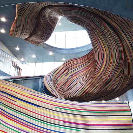 Escalier monumental architectural rotin Métalobil Tolefi